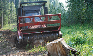 Mulching is a process whereby larger machines are used to clear land